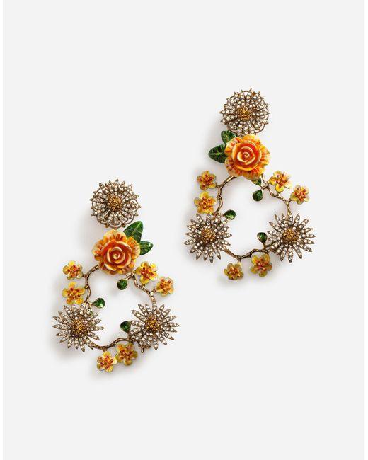 428fca7ba Dolce & Gabbana - Metallic Drop Earrings With Decorative Details - Lyst ...