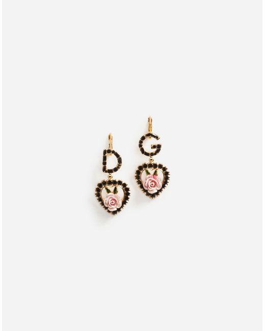Dolce & Gabbana - Metallic Pendant Earrings With Logo - Lyst