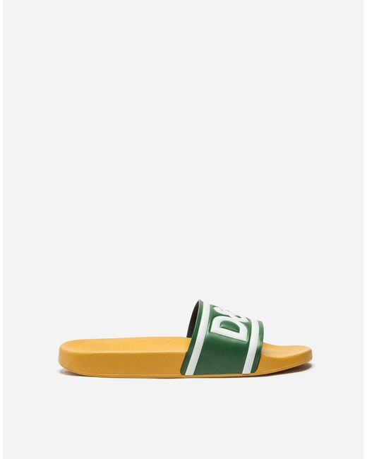Dolce & Gabbana - Green Slippers In Printed Rubber And Calfskin for Men - Lyst