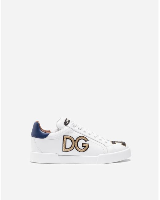 Dolce & Gabbana   White Embroidered Leather Sneakers   Lyst