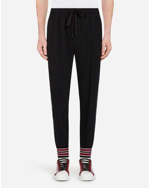 Dolce & Gabbana - Black Cady Jogging Pants With Branded Bands for Men - Lyst