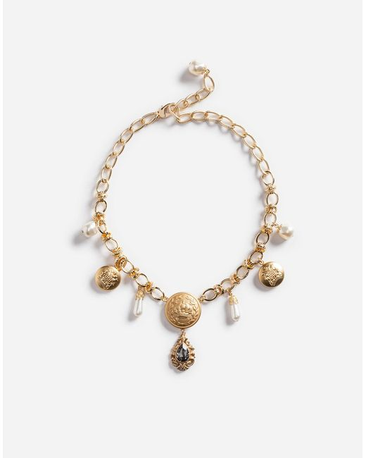 Dolce & Gabbana | Metallic Pendant Necklace With Crystals | Lyst