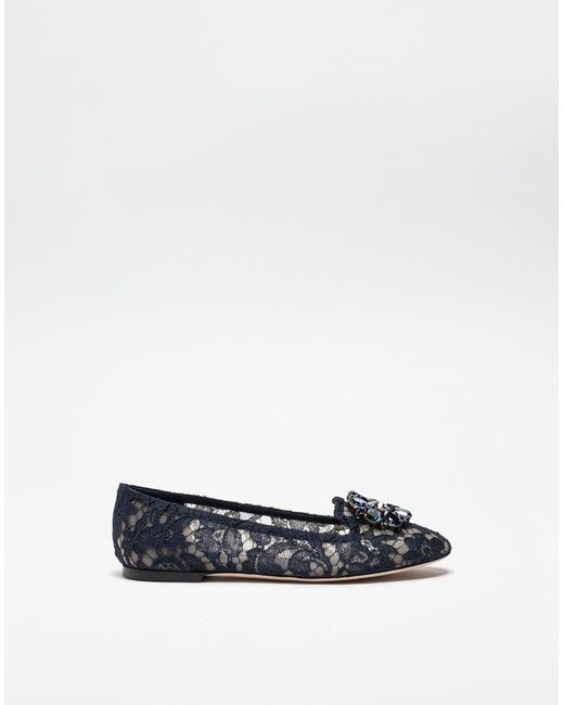 Dolce & Gabbana - Blue Slipper In Taormina Lace With Crystals - Lyst