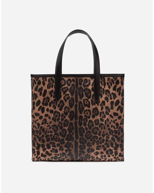 9345c4e03530 ... Dolce   Gabbana - Multicolor Medium Market Shopping Shoulder Bag In  Leopard Crepe With Rubber Logo ...