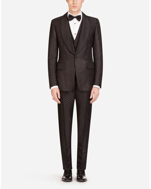 Dolce & Gabbana Red Silk Jacquard Casinò-fit Suit for men