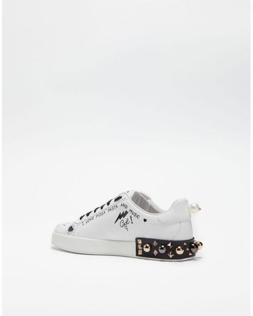 Dolce & Gabbana PORTOFINO PRINTED LEATHER SNEAKERS RUQ284