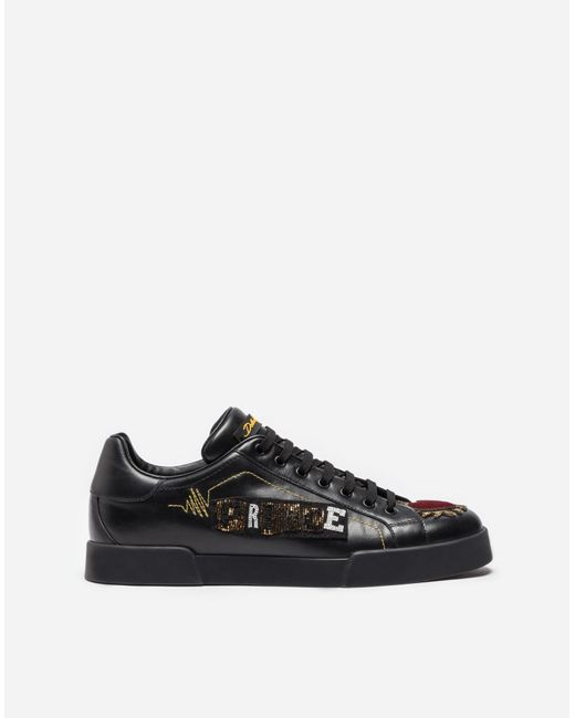 Dolce & Gabbana | Black Leather Sneakers With Appliqués | Lyst