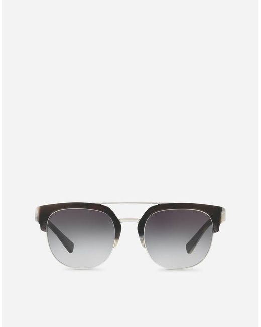 Dolce & Gabbana - Black Square Sunglasses With Double Bridge In Metal for Men - Lyst