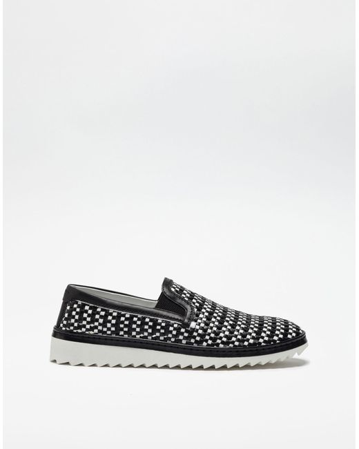 Dolce & Gabbana | Black Two-color Slip Ons In Braided Leather for Men | Lyst