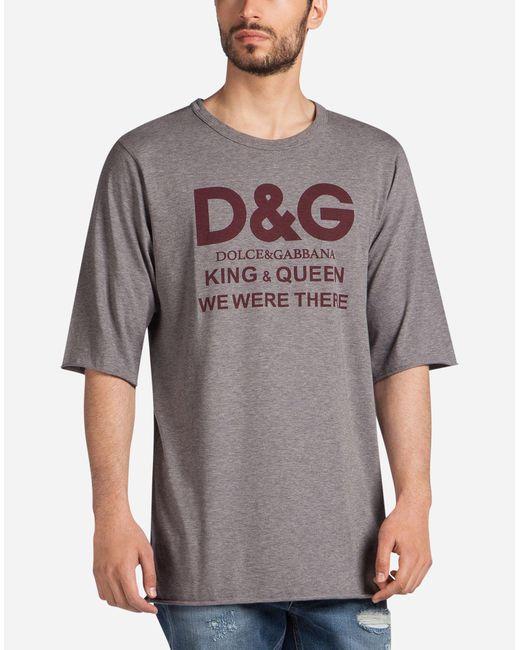 Dolce & Gabbana - Gray Oversized Printed Cotton T-shirt for Men - Lyst