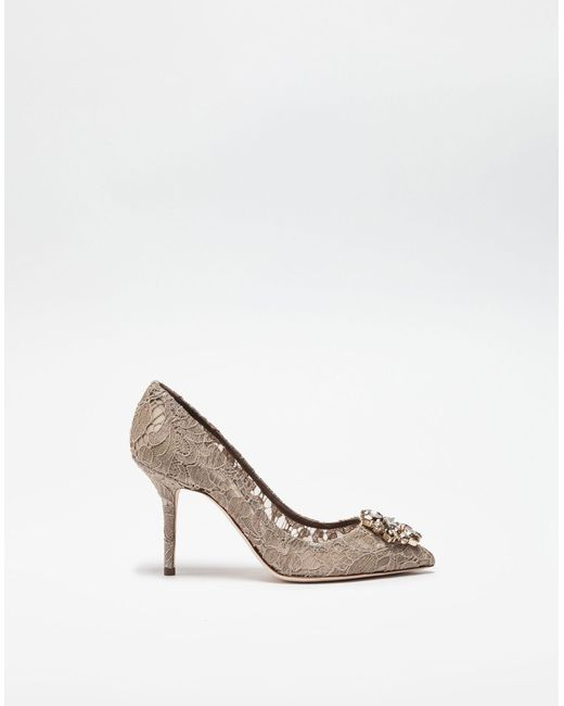 21a41c4bd745 Dolce   Gabbana - Natural Bellucci Crystal-Embellished Lace Pumps - Lyst ...