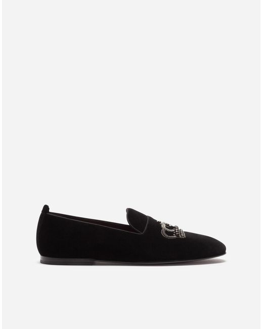 Dolce & Gabbana - Black Velvet Slippers With Crown Embroidery - Lyst