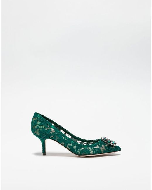 7fe0396f184 Dolce   Gabbana Pump In Taormina Lace With Crystals in Green - Lyst