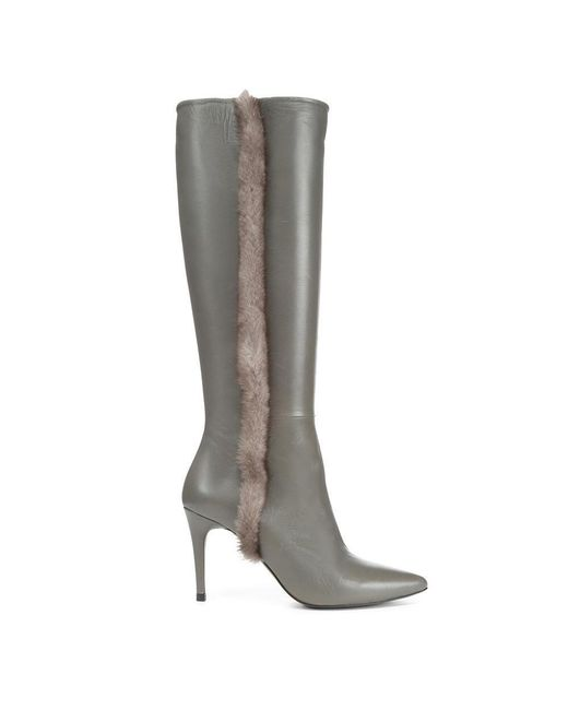 Donald J Pliner - Gray Nappa Leather And Mink Fur Boot - Lyst