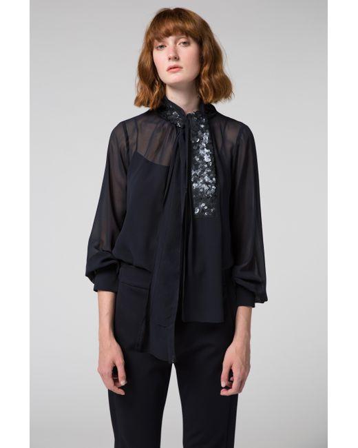 lyst dorothee schumacher sensitive lightness blouse 1 1 in black. Black Bedroom Furniture Sets. Home Design Ideas