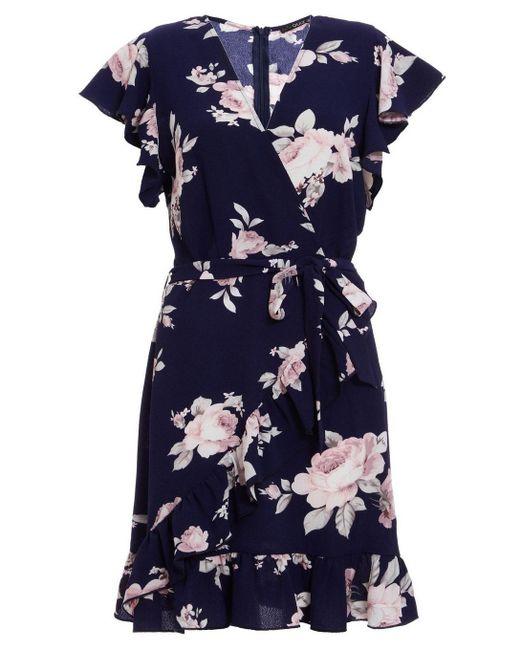 d3a0427a6b1 Dorothy Perkins - Pink Quiz Blue Floral Print Wrap Dress - Lyst ...