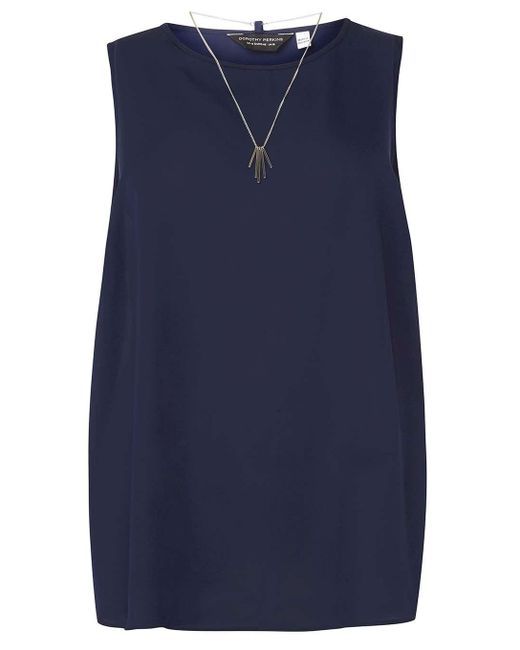 Dorothy Perkins | Blue Dp Curve Navy Wrap Back Top With Necklace | Lyst