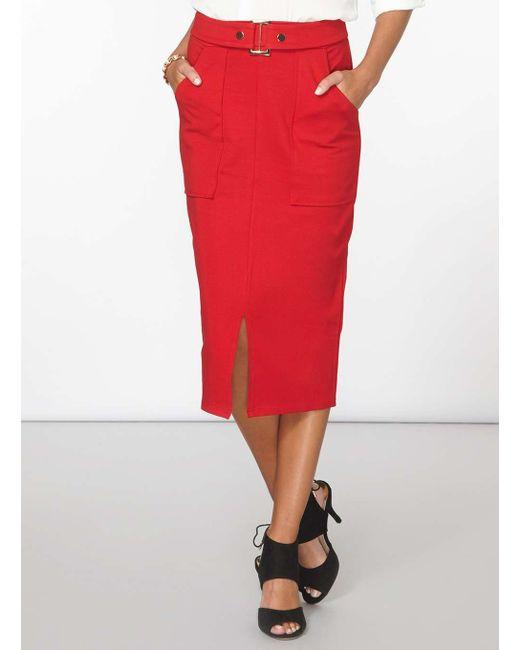 dorothy perkins belted ponte pencil skirt in black