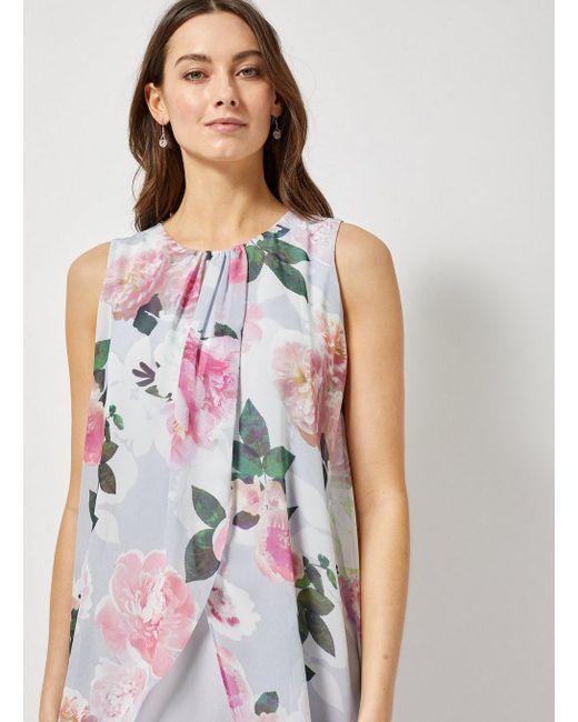 daf48b6ae1396 ... Dorothy Perkins - Gray Billie   Blossom Grey Floral Print Maxi Trapeze  Dress ...