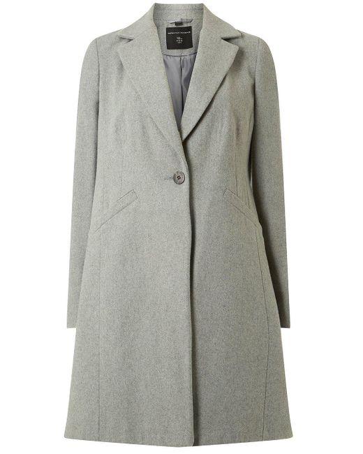 Dorothy Perkins - Gray Grey Single-breasted Coat - Lyst