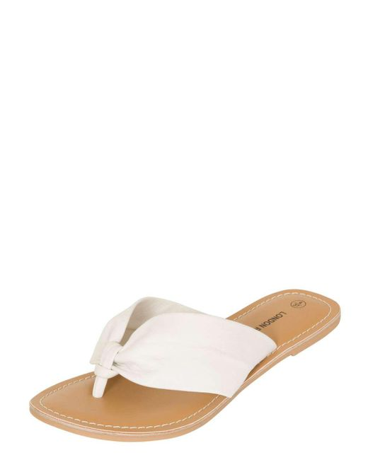 Dorothy Perkins | London Rebel White Ruched Toe Post Sandals | Lyst