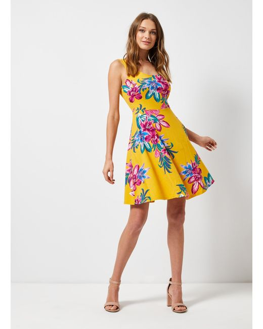 5b16fbee752 ... Dorothy Perkins - Yellow Floral Print Seam Fit And Flare Dress - Lyst  ...