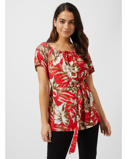68627ff2daeabc ... Dorothy Perkins - Petite Red Tropical Print Longline Bardot Top - Lyst  ...