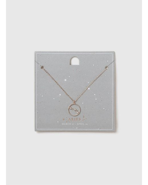 Dorothy Perkins - Metallic Rose Gold Aries Horoscope Necklace - Lyst