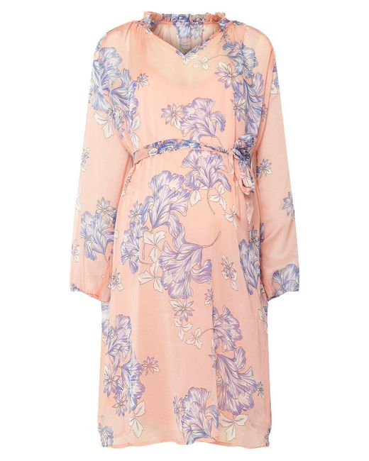 Dorothy Perkins - Pink Mamalicious Maternity Peach Printed Skater Dress - Lyst