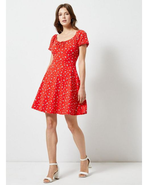 47a0430980c ... Dorothy Perkins - Pink Red Ditsy Print Scoop Neck Skater Dress - Lyst  ...