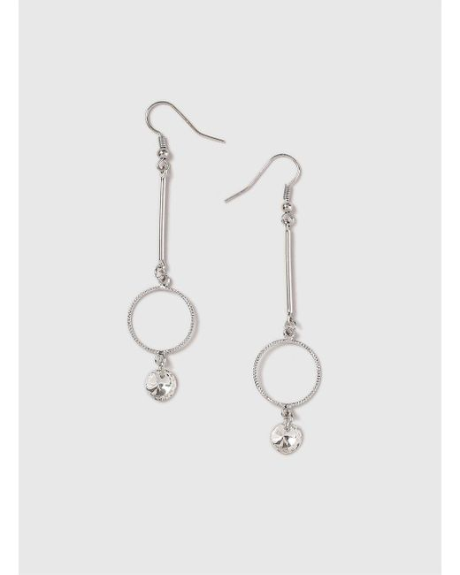 Dorothy Perkins - Metallic Silver Look Fine Circle Drop Earrings - Lyst