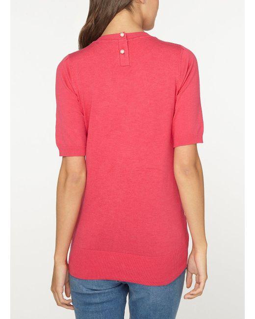 Dorothy Perkins Womens **Tall Raspberry Pearl Button Back T-Shirt- Cheap Visit New b8ghC