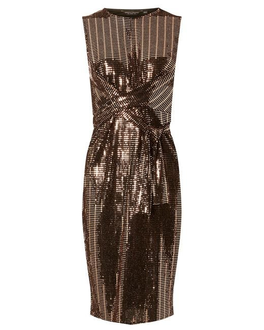 Dorothy Perkins - Brown Bronze Square Glitter Twist Detail Bodycon Dress - Lyst