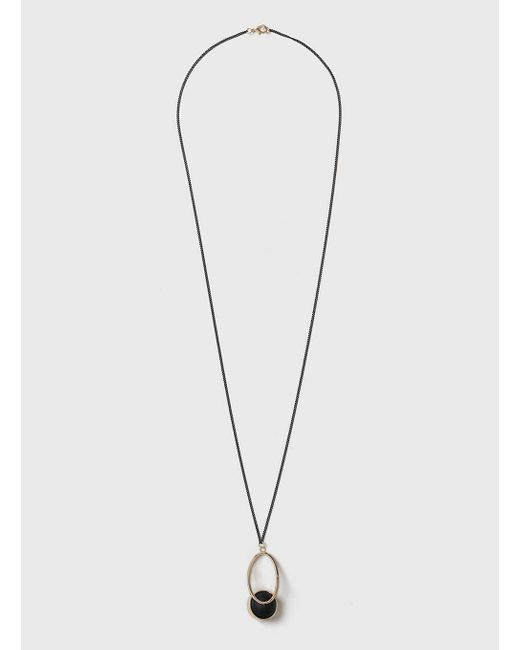 Dorothy Perkins   Black Ball And Oval Pendant Necklace   Lyst