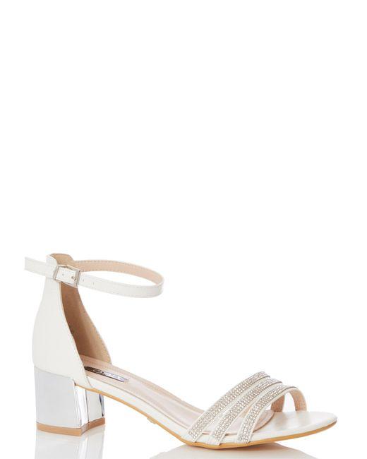 dc4c15c88 Dorothy Perkins - White Quiz Bridal Diamante Strap Heeled Sandals - Lyst ...