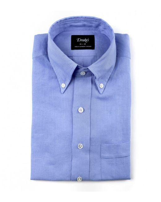 Drake 39 s irish blue linen shirt with button down collar in for Irish linen dress shirts