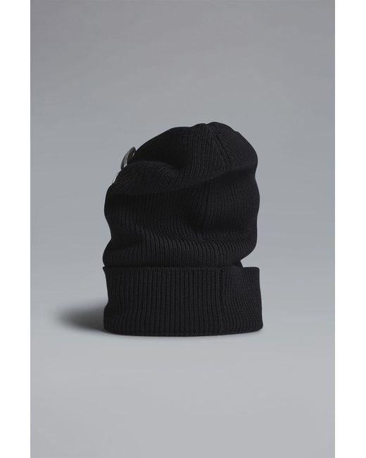 DSquared² - Black Military Punk Pins Knit Beanie for Men - Lyst ... a71500e27ae