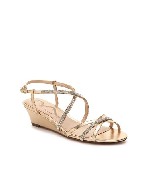 Nina - Metallic Franya Wedge Sandal - Lyst
