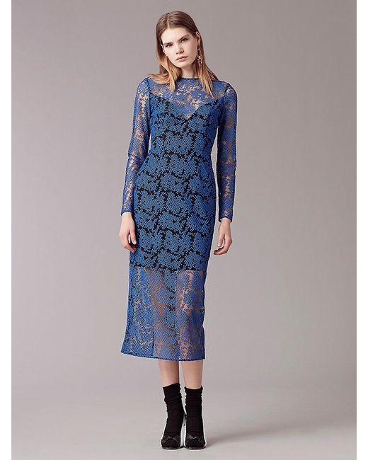 Diane von Furstenberg   Blue Long Sleeve Tailored Midi Dress   Lyst