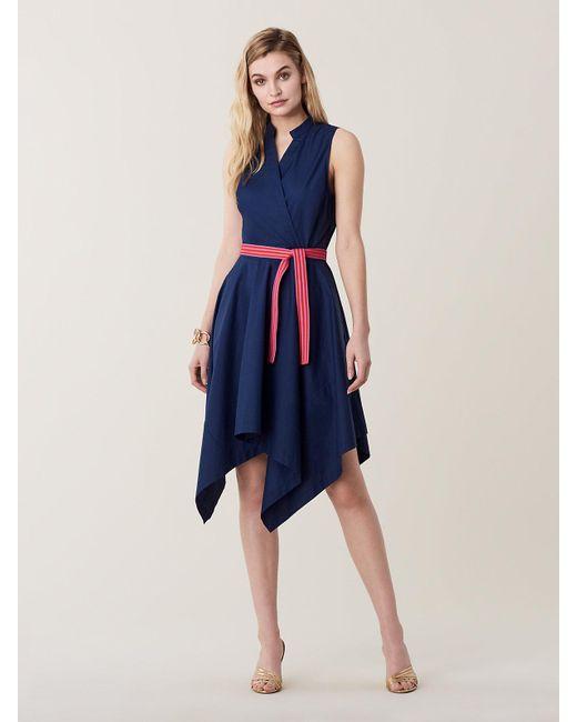 4110bc61cda Diane von Furstenberg - Blue Marlene Asymmetrical Cotton Belted Dress - Lyst  ...