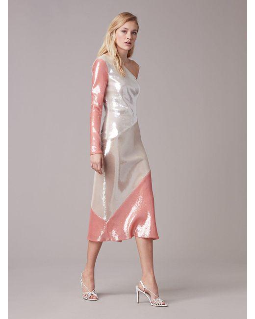 Diane von Furstenberg | Pink One-shoulder Sequin Bias Dress | Lyst
