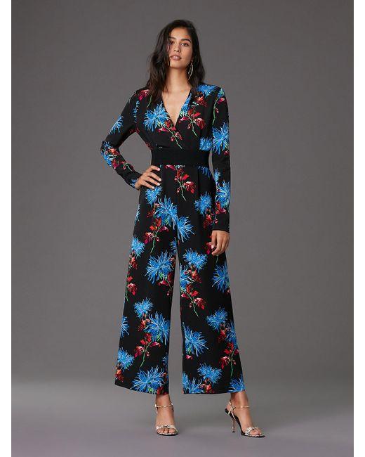 Diane von Furstenberg - Blue Long-sleeve Cross Over Jumpsuit - Lyst
