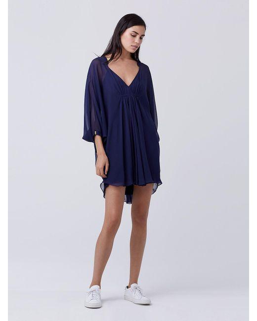 Diane von Furstenberg | Blue Fleurette Silk Chiffon Kaftan Dress | Lyst