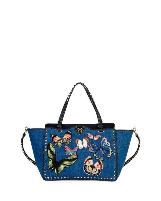 Valentino Butterfly Rockstud Denim Tote Bag in Blue
