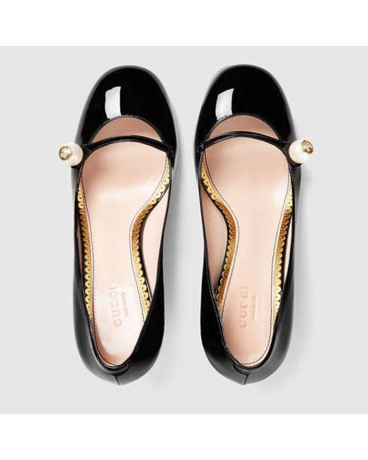 cd6c5973d42 Gucci Leather Mid-heel Pump 408208