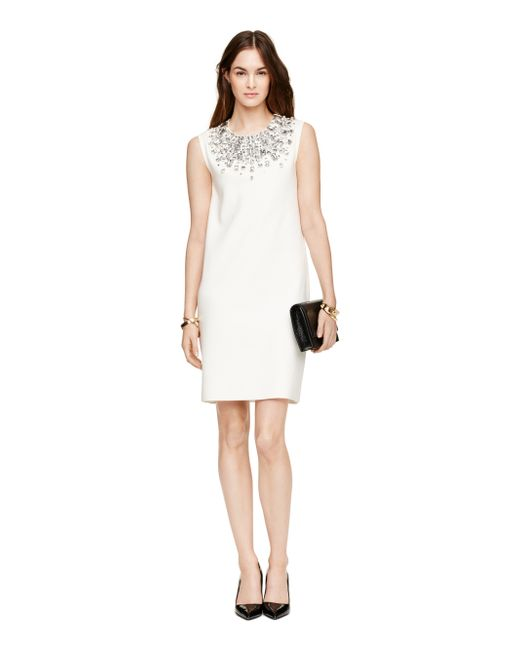 kate spade new york | Natural Embellished Sweater Dress | Lyst
