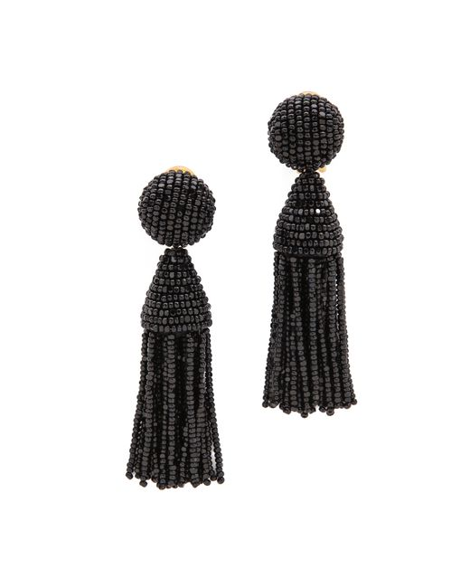 Oscar de la Renta | Black Classic Short Tassel Earrings | Lyst