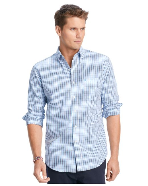 Izod Big And Tall Long Sleeve Checked Shirt In Blue For