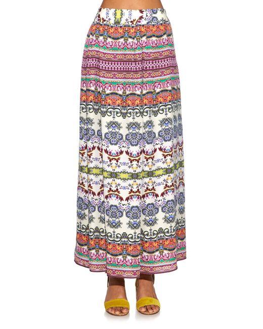 Etro | Multicolor Multi Floral-print Silk Maxi Skirt | Lyst
