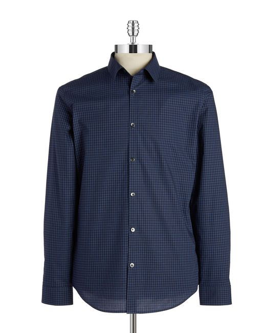 Calvin Klein | Blue Gingham Plaid Sportshirt for Men | Lyst